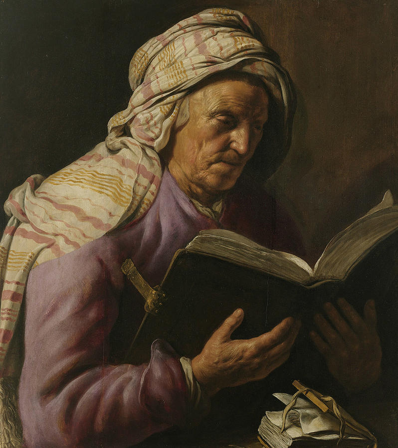 Dutch Painters Painting - Old Woman Reading by Jan Lievens
