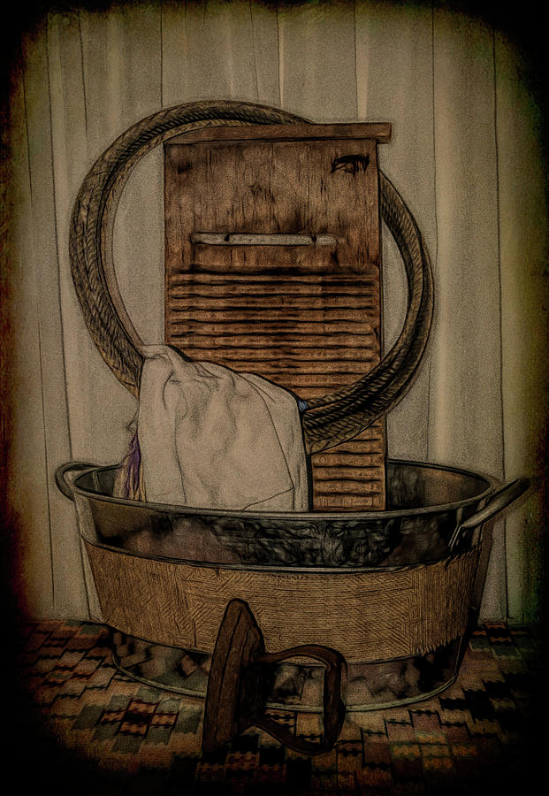 Old Wooden Washboard by Pamela Walton