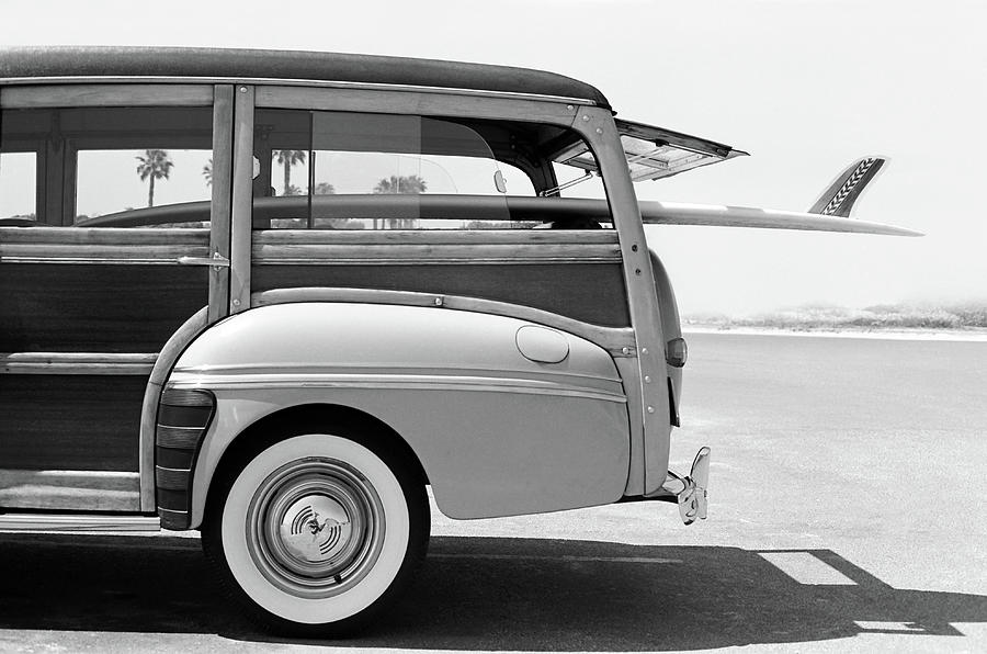Old Woodie Station Wagon With Surfboard Photograph by Skodonnell