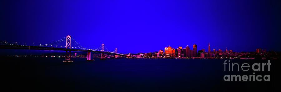 San Francisco, skyline, dawn, vignette Oakland, Bay, Bridge, from Treasure,Island by Tom Jelen