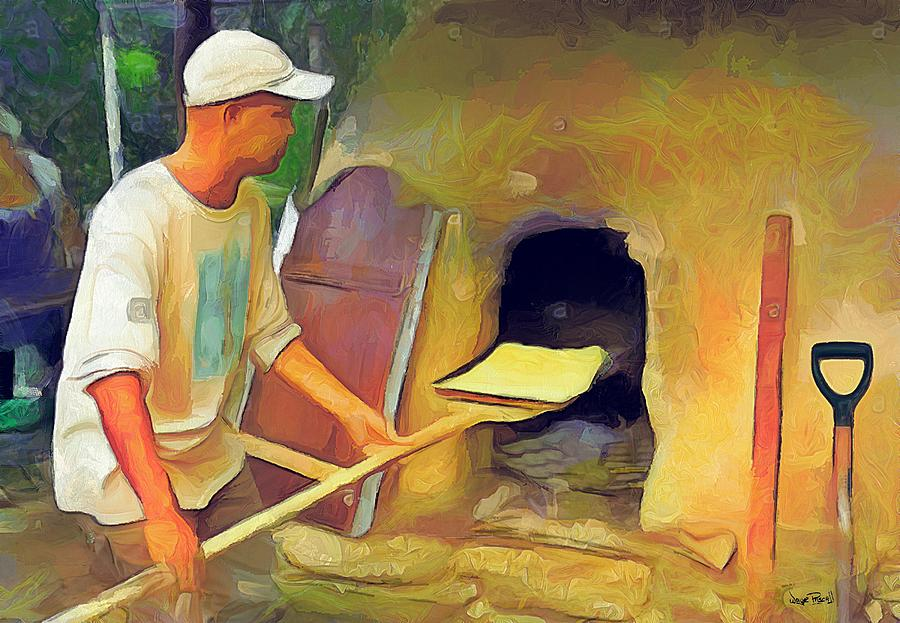 OLE TIME CARIBBEAN SCENES - Baking in De Mud Oven by Wayne Pascall
