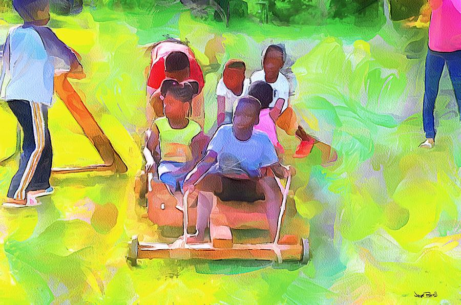 Ole Time Caribbean Scenes - Box Cart and Scooter by Wayne Pascall