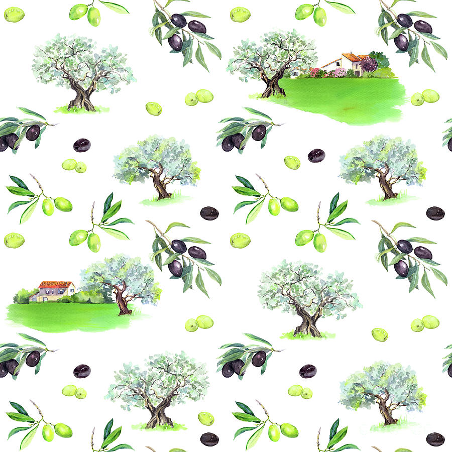 Olive Branches, Olives Trees, Farm Digital Art by Zzorik