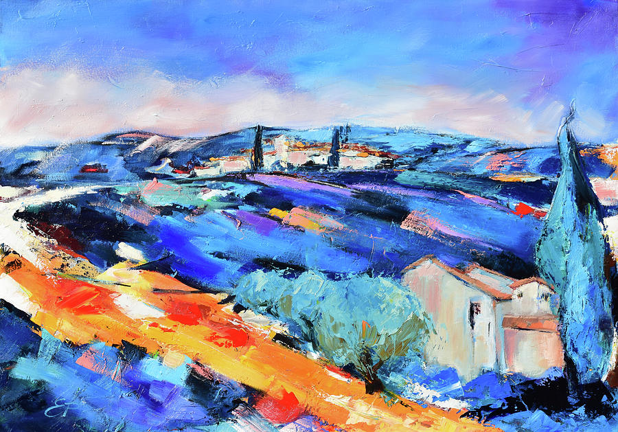 Olive trees, blue hills and lavender by Elise Palmigiani
