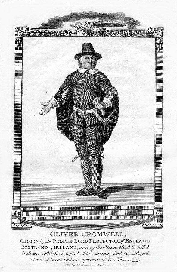 Oliver Cromwell, English Military Drawing by Print Collector