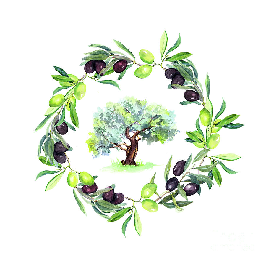 Olives Branches Wreath With Olive Tree Digital Art by Zzorik