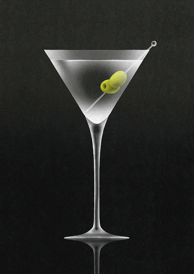 Olives In Martini Cocktail Glass Digital Art by Nick Purser