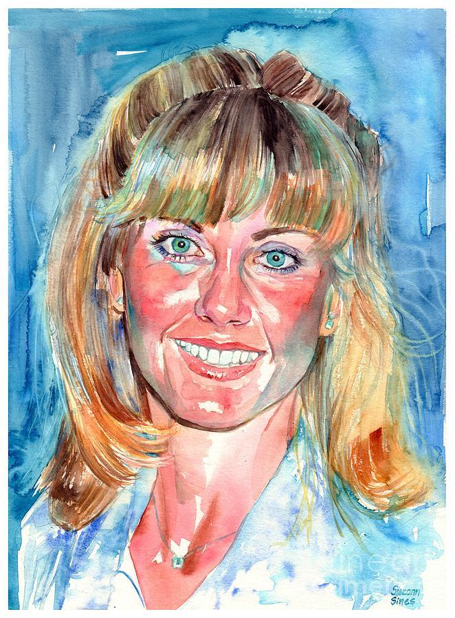 Olivia Newton John Painting - Olivia Newton John Watercolor by Suzann Sines