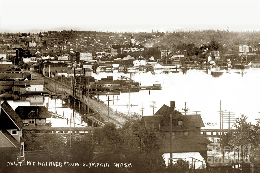 Olympia from around 1904, looking across the Fourth Avenue Bridge over the mouth of the Deschutes Ri by California Views Archives Mr Pat Hathaway Archives