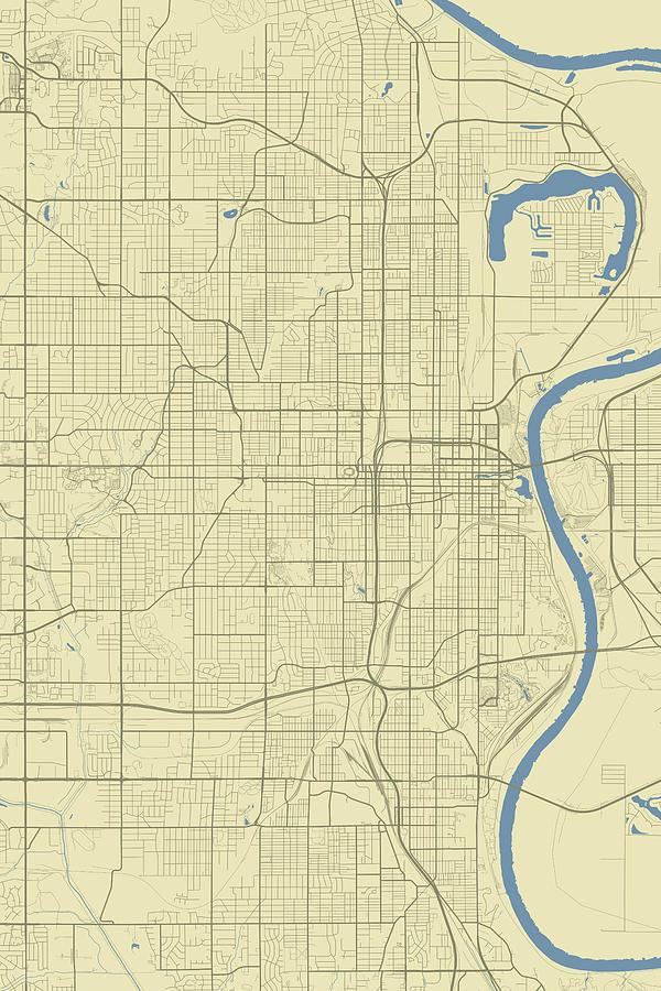 Omaha Nebraska Usa Clic Map by Jurq Studio on