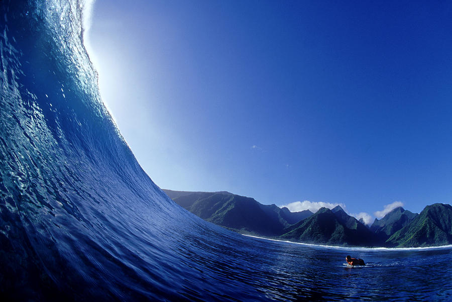 On A Wave Looking Out Teahupoo, Tahiti Photograph by Scott Winer