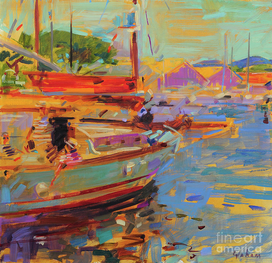 Boat Painting - On Deck, Saint-tropez by Peter Graham