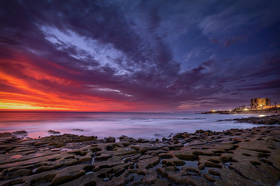 Beach Photograph - On Fire - La Jolla by Peter Tellone