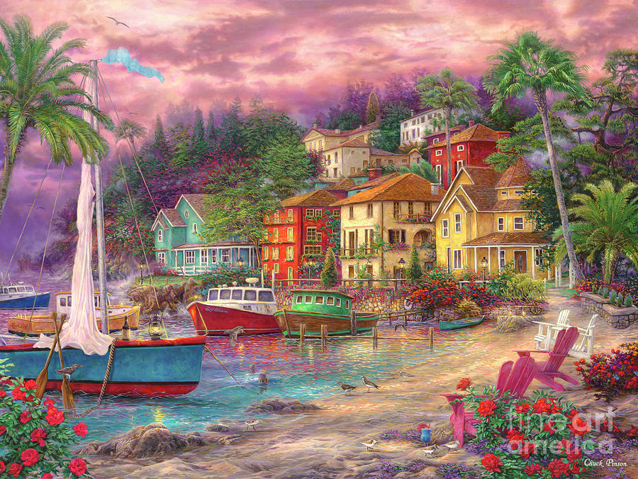 European Painting - On Golden Shores by Chuck Pinson