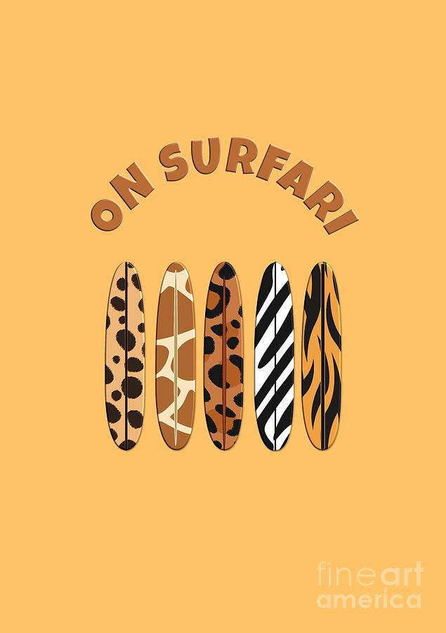 On Surfari Animal Print Surfboards  by Barefoot Bodeez Art