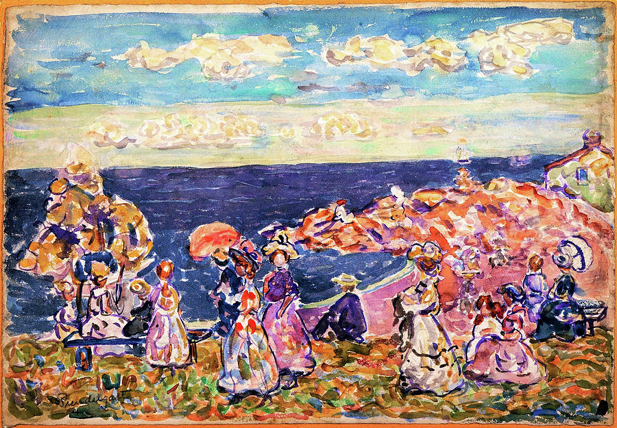 Usa Painting - On The Beach - Digital Remastered Edition by Maurice Brazil Prendergast
