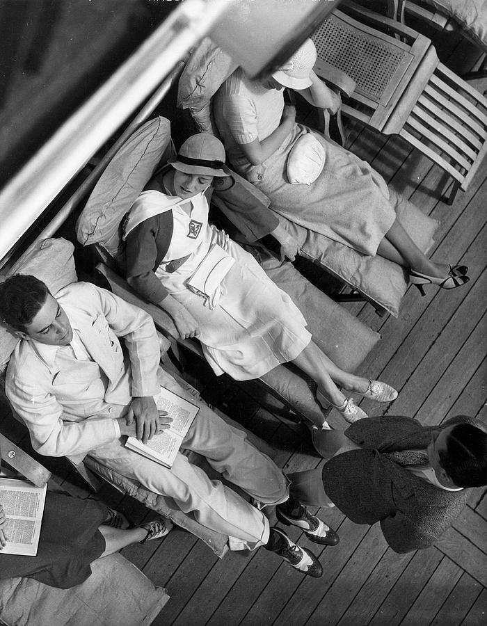On The Deck Of Queen Of Bermuda 1932 Photograph by The New York Historical Society