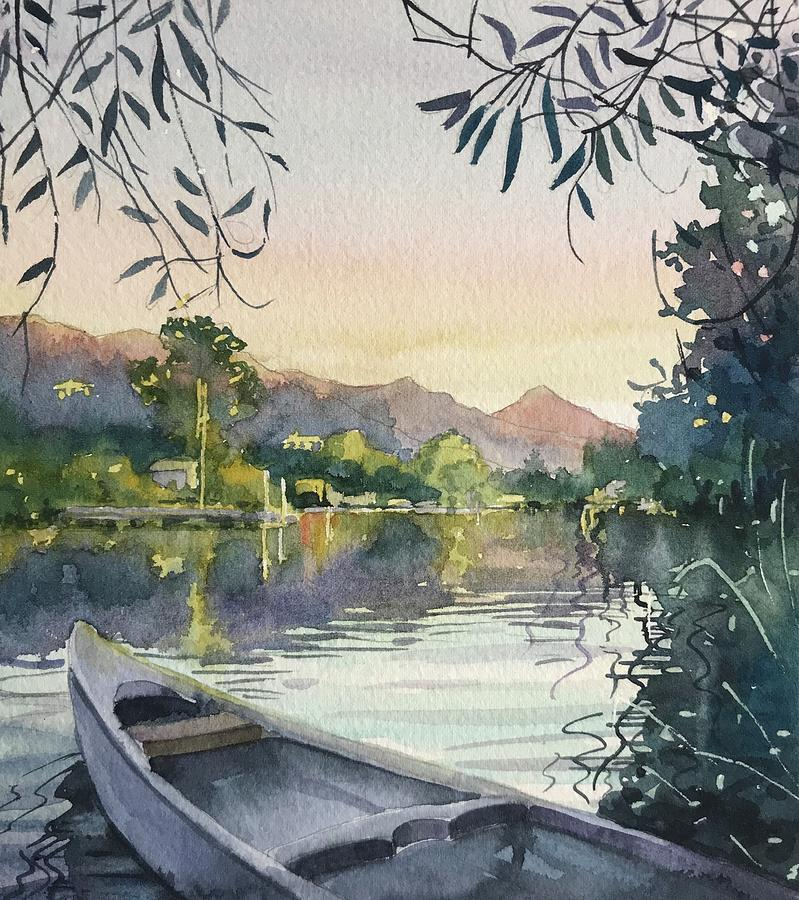 Dusk On Malibou Lake Painting