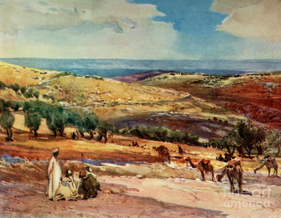 On The Road From Jerusalem To Bethany Drawing by Print Collector