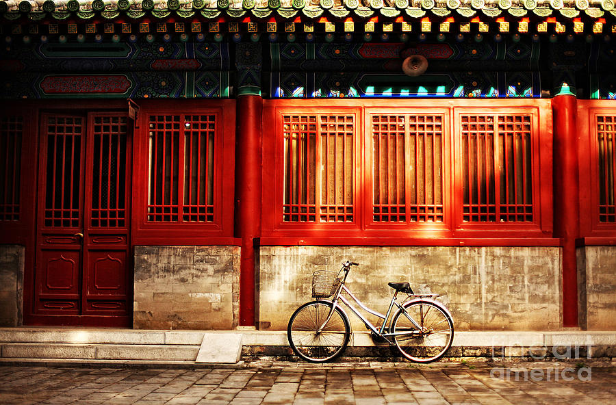 Door Photograph - One Bicycle In Front Of Oriental Red by N K