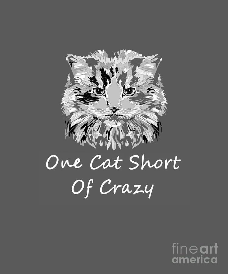 Cat Crazy Mixed Media - One Cat Short Of Crazy by PurrVeyor Com