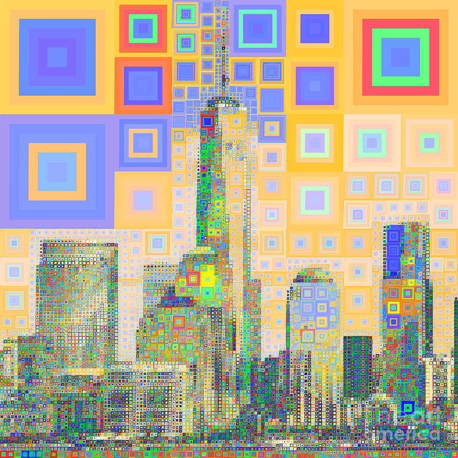 One World Trade Center Lower Manhatten New York Skyline in Abstract Squares 20190205sq by Wingsdomain Art and Photography