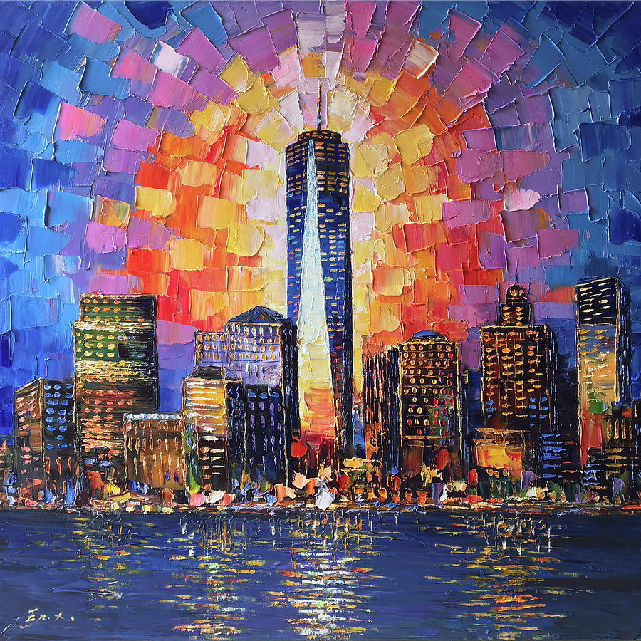 One World Trade Center Painting - One world trade center,freedom tower,newyork city by Enxu Zhou