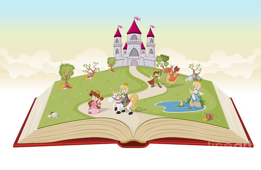 Magic Digital Art - Open Book With Cartoon Princesses And by Denis Cristo