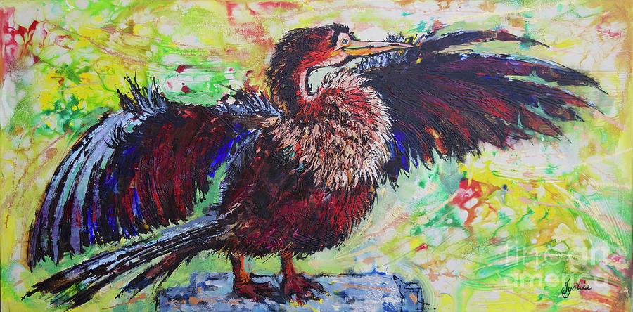 Open Fanned Anhinga by Jyotika Shroff