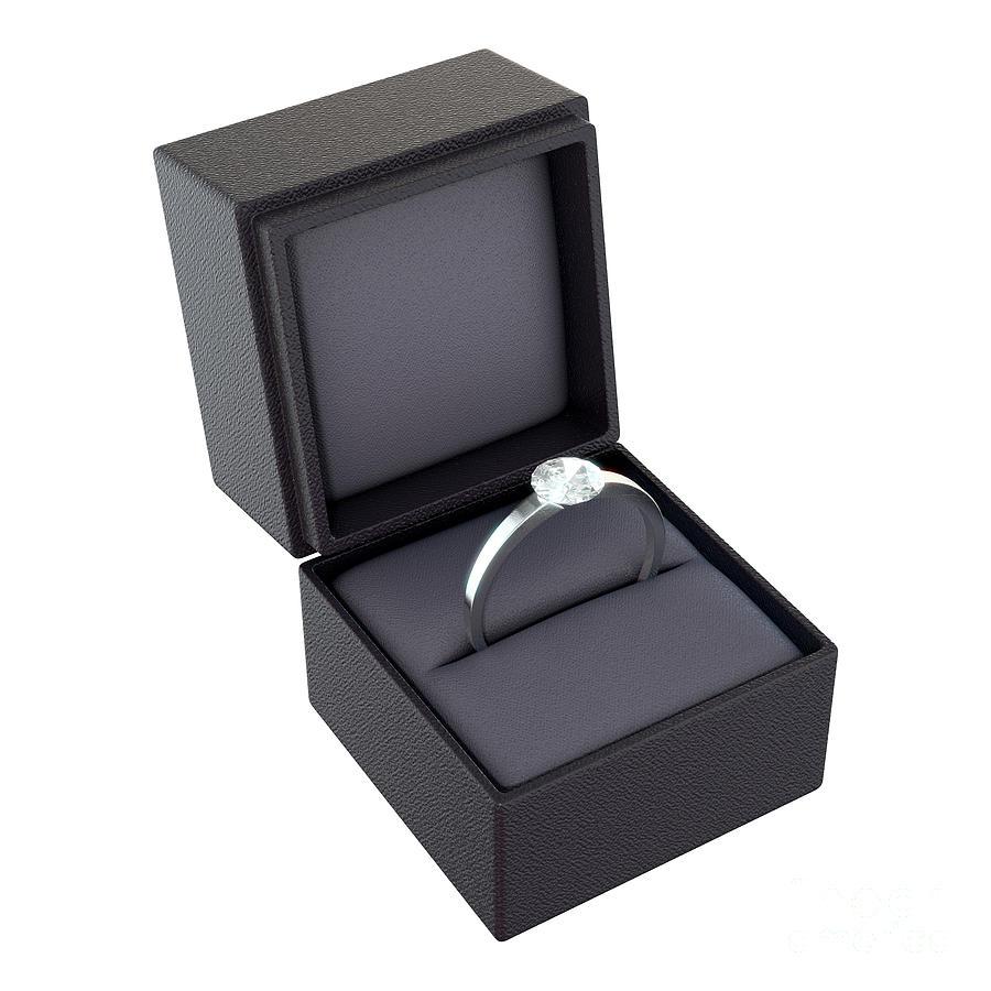 Wedding Ring Box.Open Ring Box Isolated