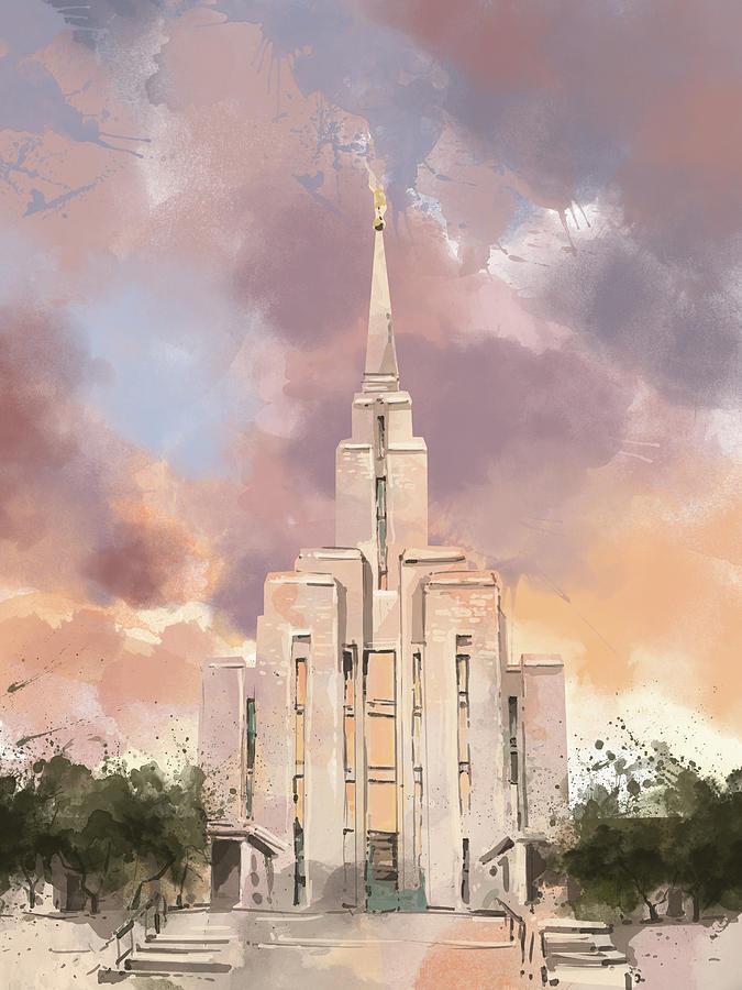 Oquirrh Mountain Utah LDS Temple Watercolor Print