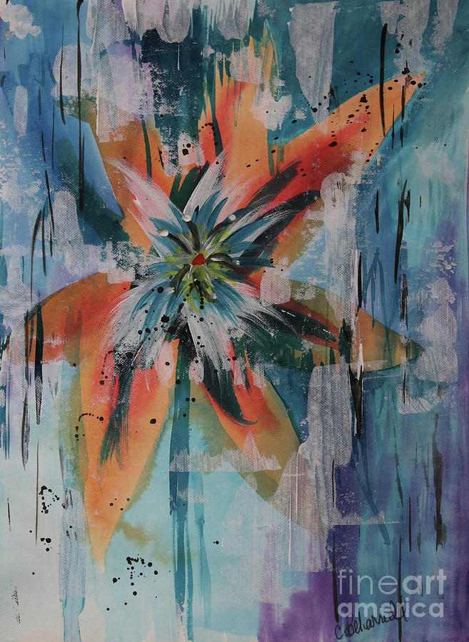 Orange Abstract Lily  by Cathy Beharriell