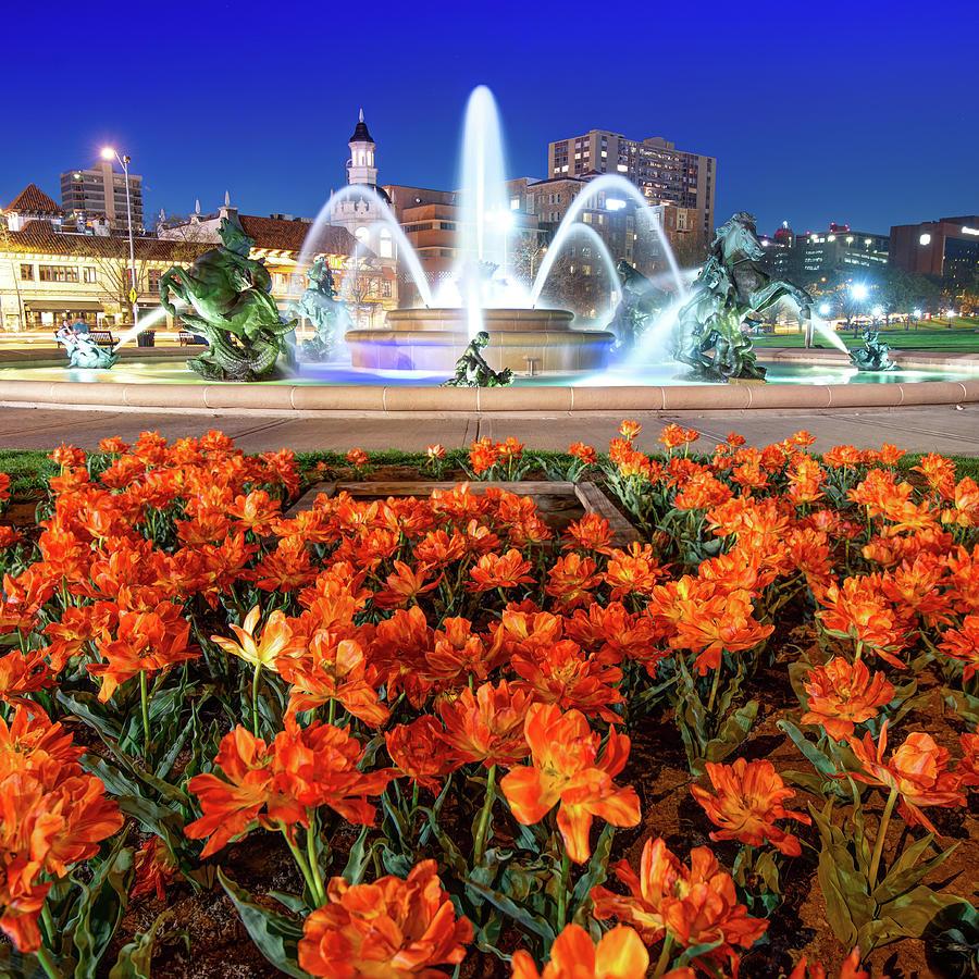 Orange Bloom At J.c. Nichols Fountain In Kansas City Photograph