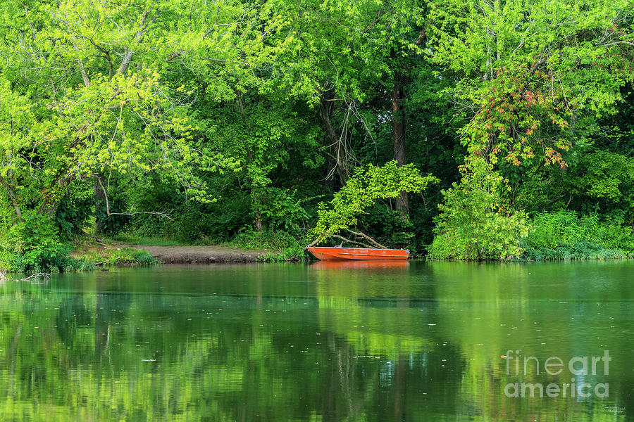 Orange Boat Waterscape by Jennifer White