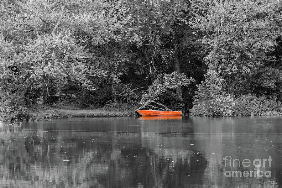 Orange Boat Waterscape Select Color by Jennifer White