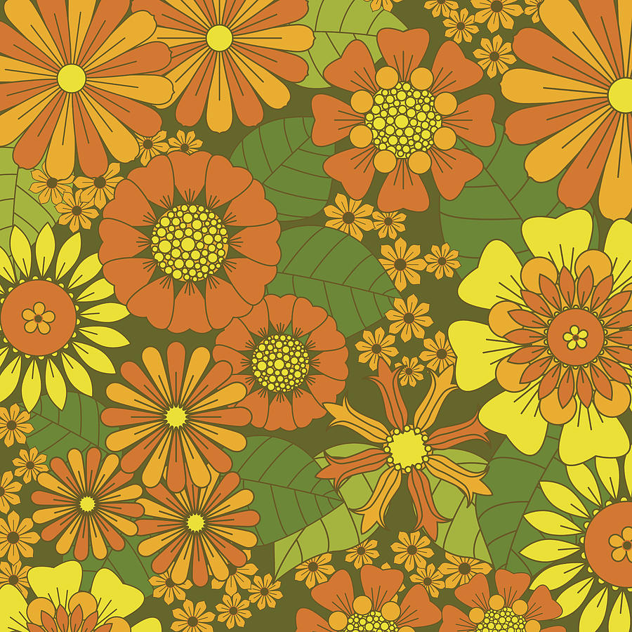 Orange Brown Yellow And Green Retro Daisy Pattern Digital Art By Melissa Williams We can mix lots of colours all the colours you've ever seen. orange brown yellow and green retro daisy pattern by melissa williams