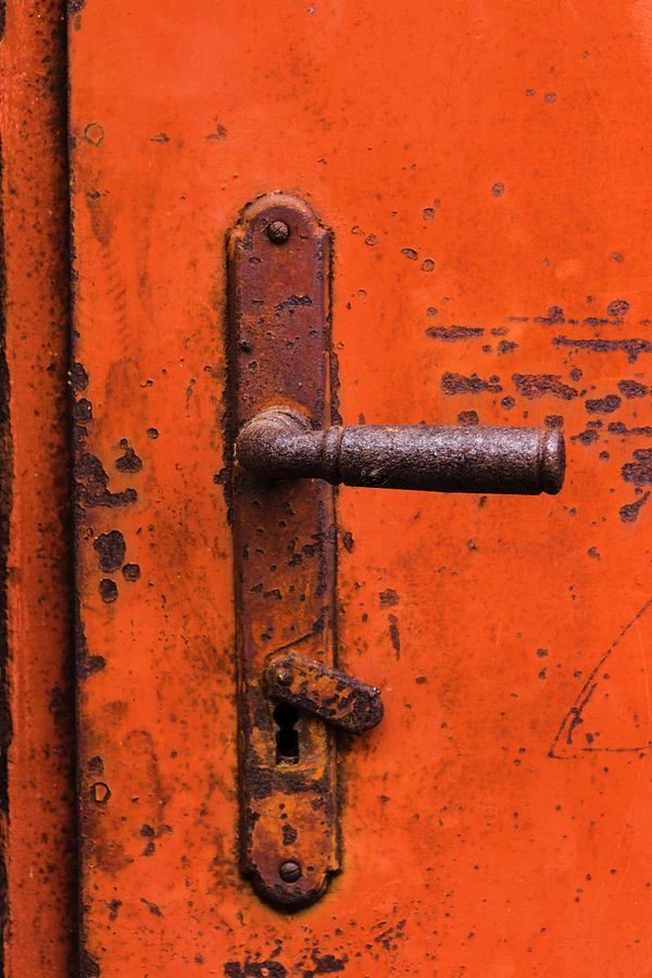 Iris Richardson Photograph - Orange Door Handle by Iris Richardson