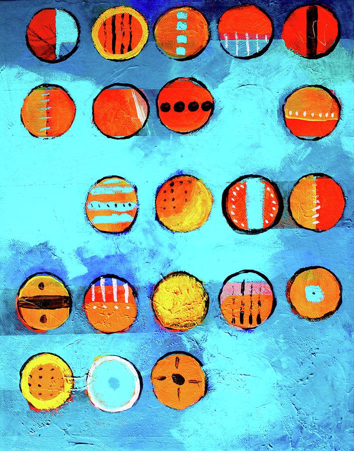 Orange Dots Painting - Orange Dots by Nancy Merkle