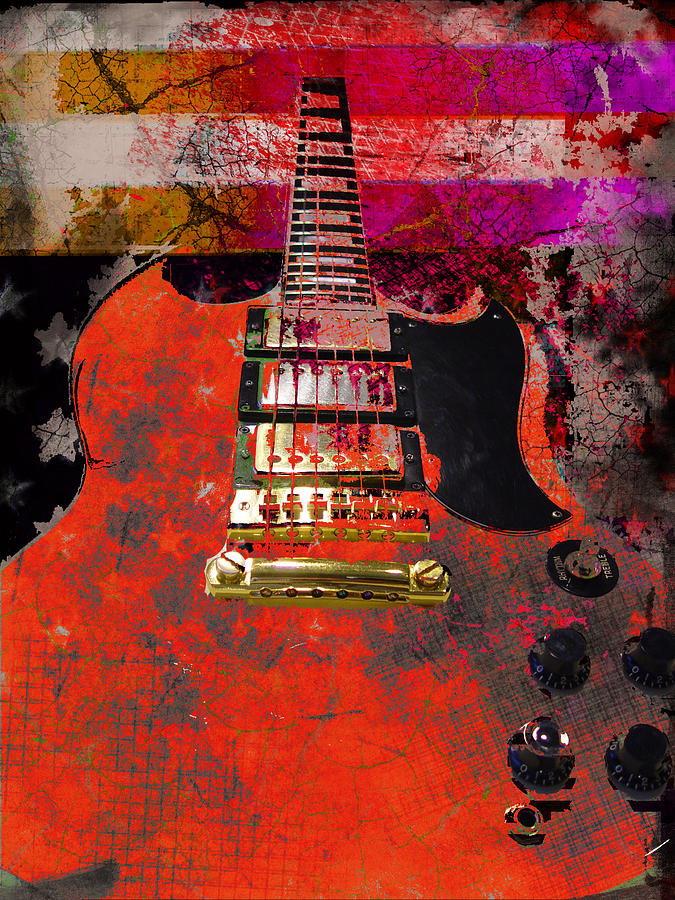 Orange Electric Guitar and American Flag by Guitar Wacky