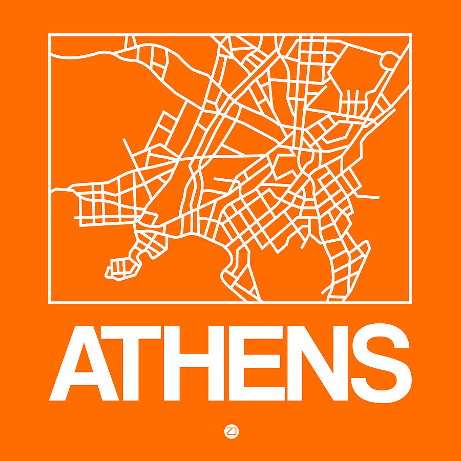 Athens Digital Art - Orange Map Of Athens by Naxart Studio
