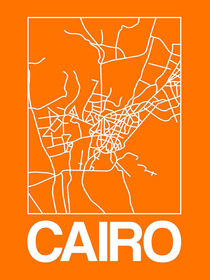 Cairo Digital Art - Orange Map Of Cairo by Naxart Studio