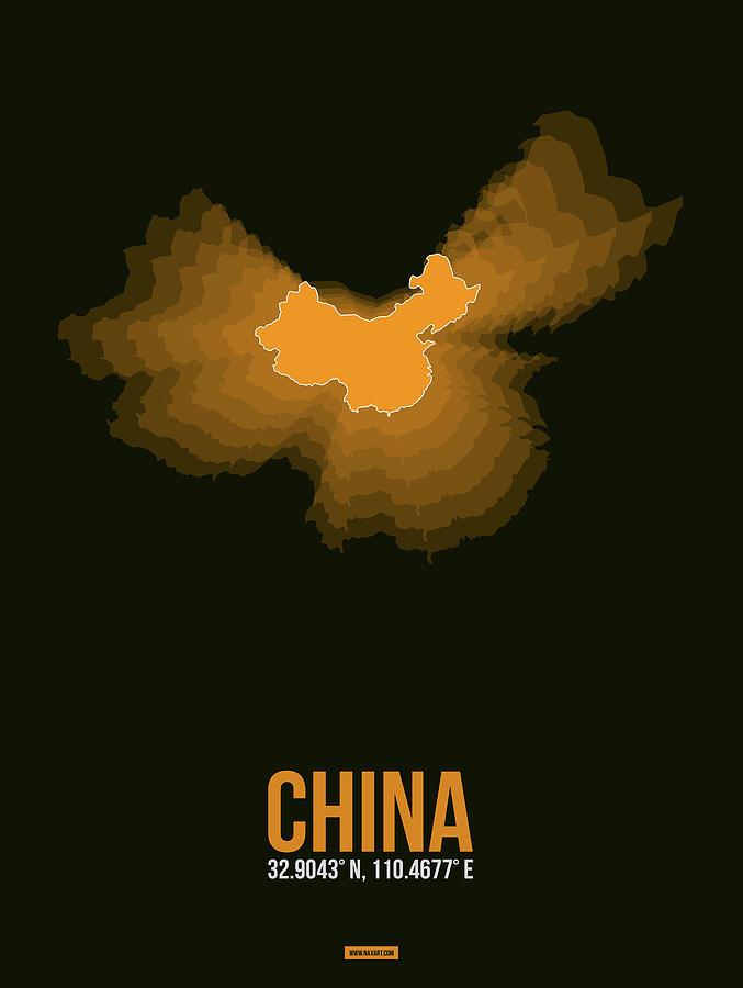 Map Of China Digital Art - Orange Map Of China  by Naxart Studio