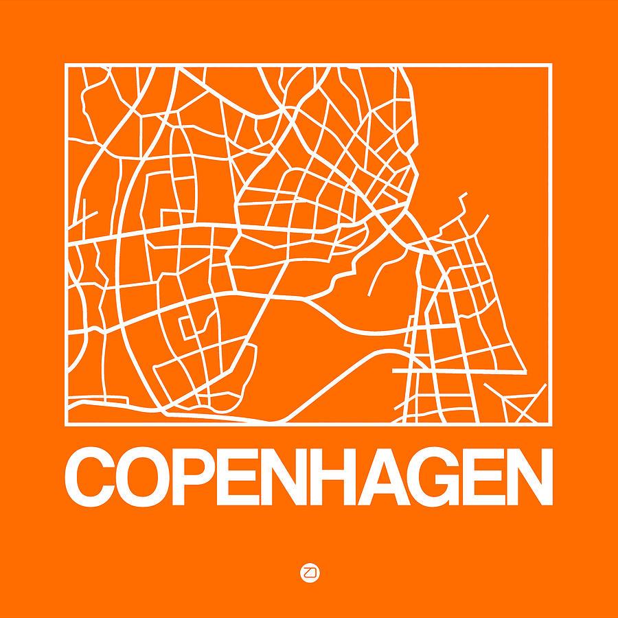 Copenhagen Digital Art - Orange Map Of Copenhagen by Naxart Studio