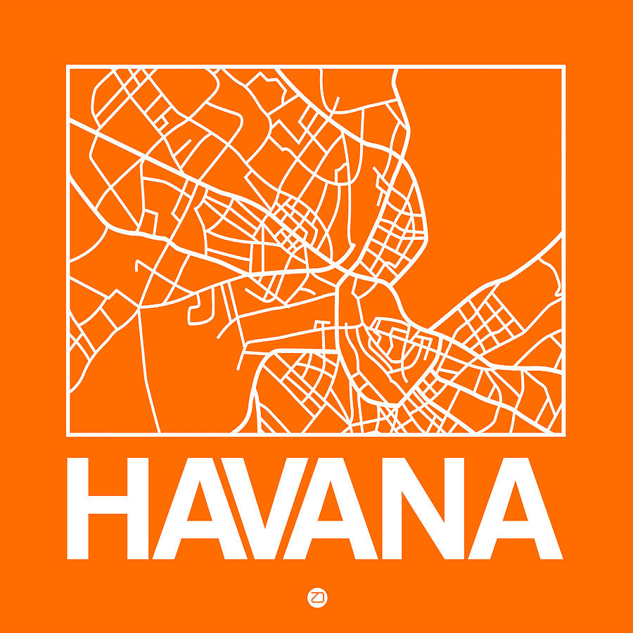 Cuba Digital Art - Orange Map Of Havana by Naxart Studio
