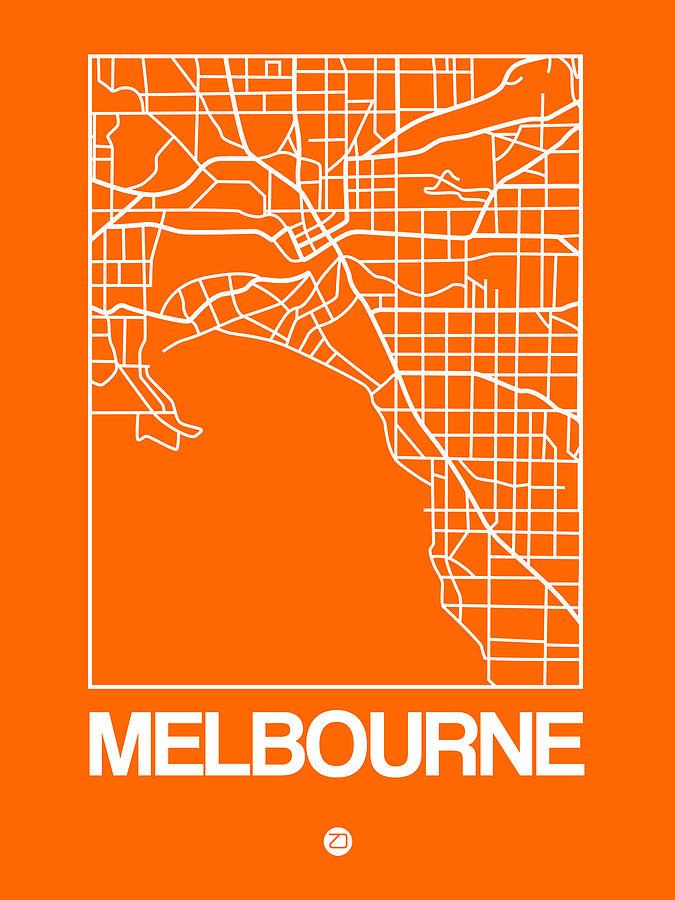 Melbourne Digital Art - Orange Map Of Melbourne by Naxart Studio