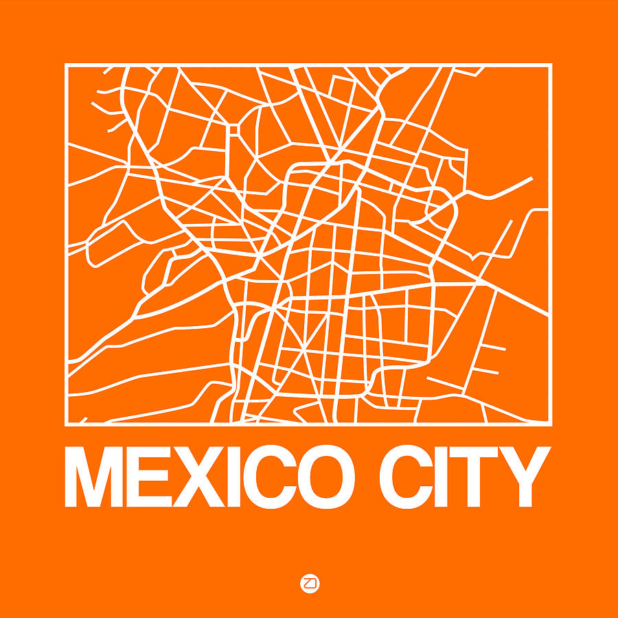 Mexico City Digital Art - Orange Map Of Mexico City by Naxart Studio