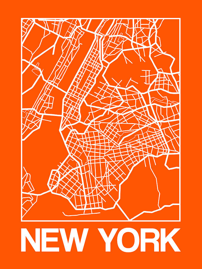 New York Digital Art - Orange Map Of New York by Naxart Studio