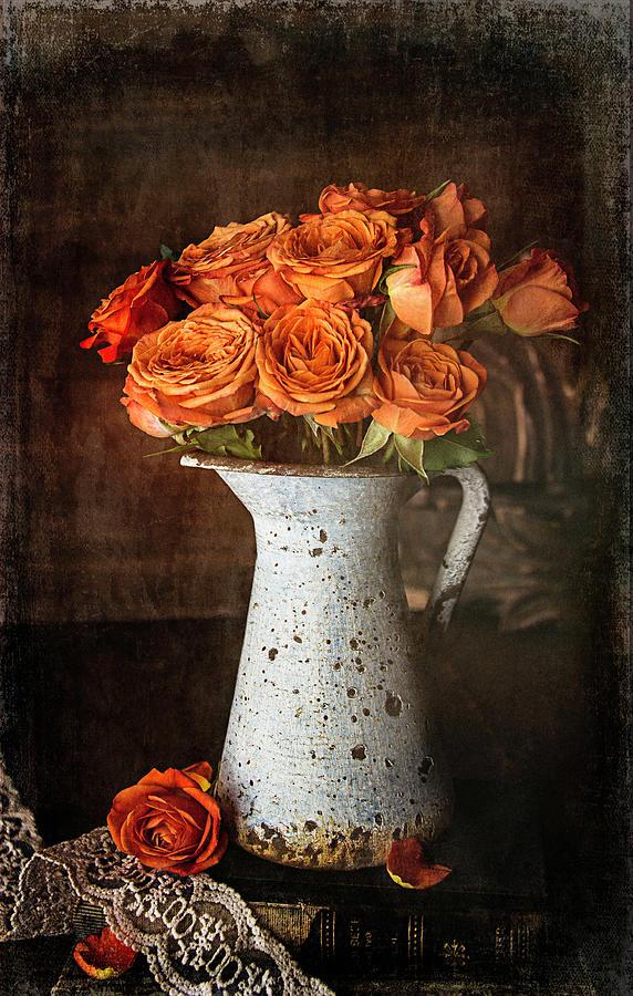 Orange Mini Roses by Cindi Ressler