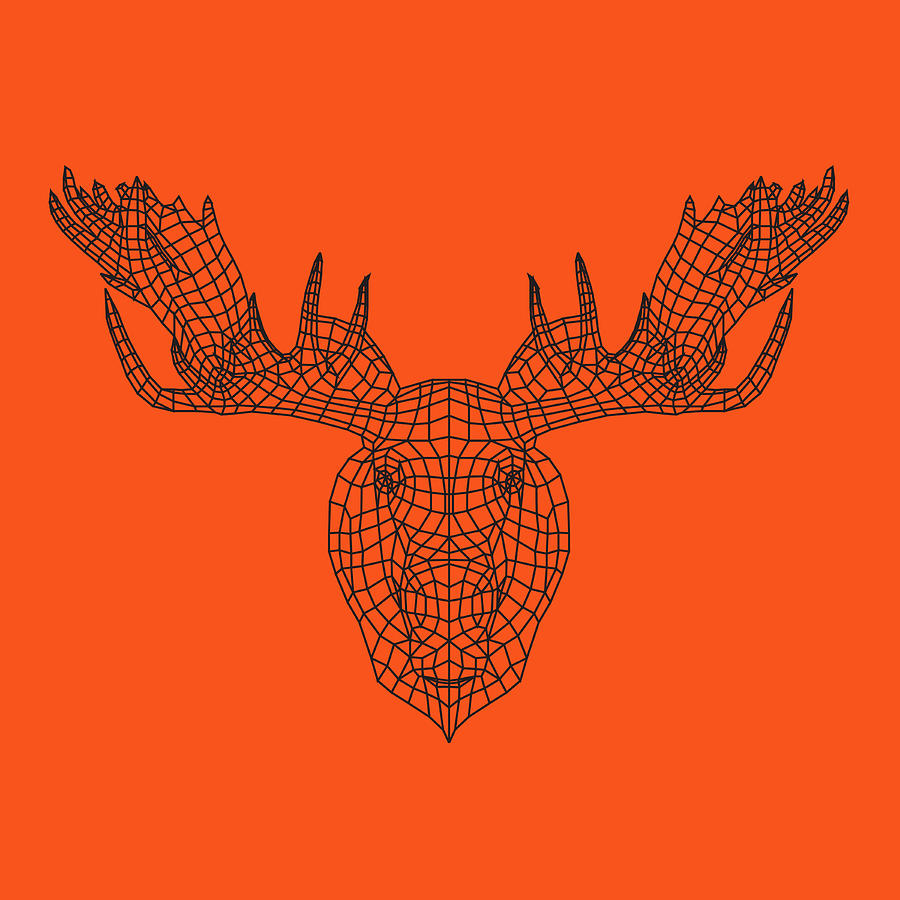 Moose Digital Art - Orange Moose by Naxart Studio