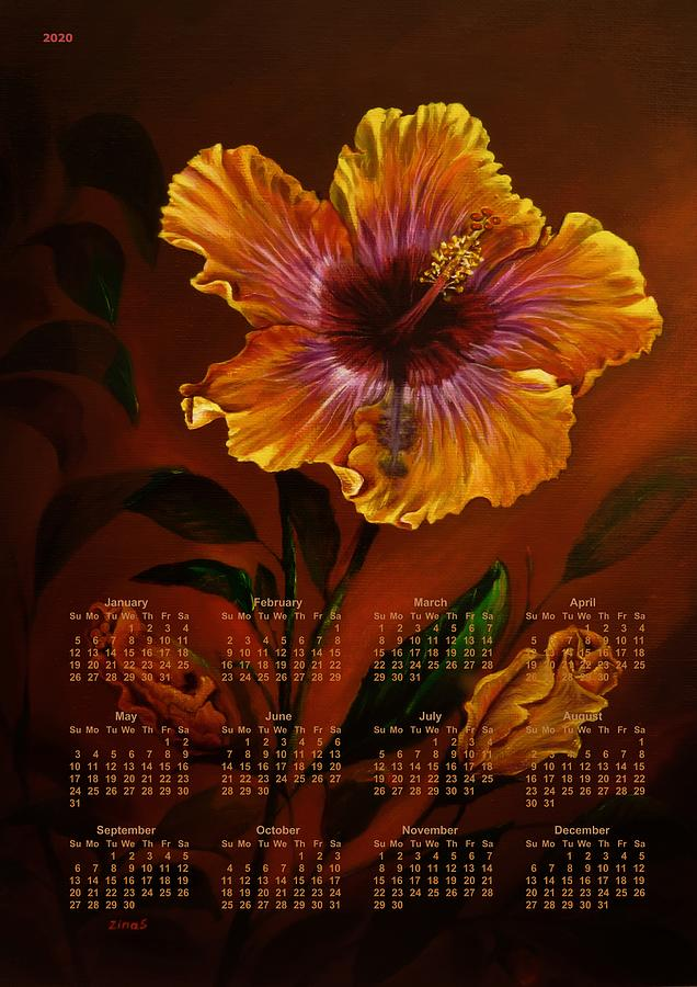 Orange Painted Hibiscus Poster Calendar by Zina Stromberg